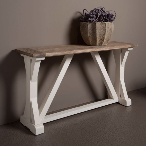 Afbeelding van Tower Living Palermo Side-table 145 cm Wit Grenenhout