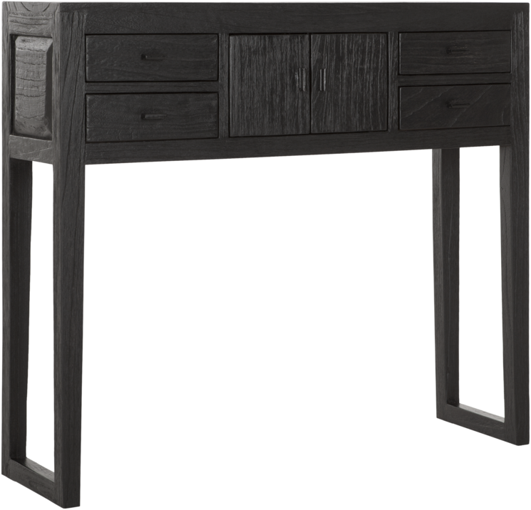 MUST LIVING Side Table Black Jack Teakhout Zwart 100 cm