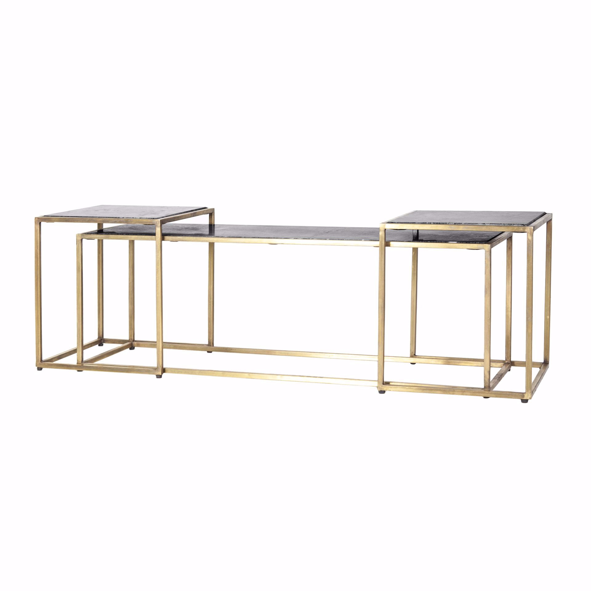By Boo Caesar Side Table Set Zwart IJzer